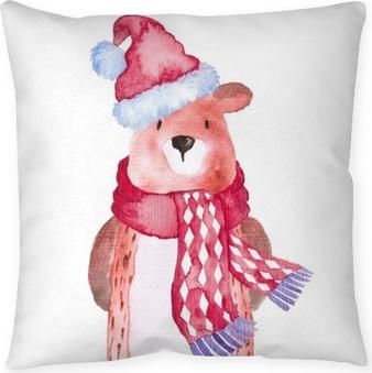 Cojín decorativo Oso, navidad, animales, invierno, acuarela, pintado a mano, ilustración, lindo, animal, vacaciones, estacional, aislado, sombrero, bufanda