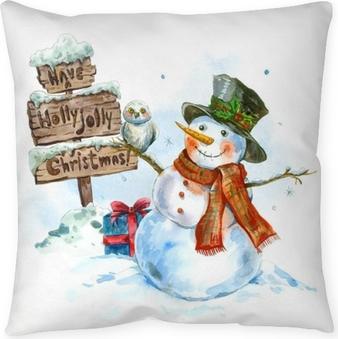 Cojín decorativo Tarjeta de felicitación de acuarela con muñeco de nieve