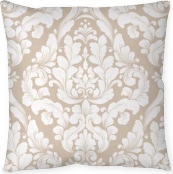 Cojín decorativo Vector Damasco sin patrón elemento. ornamento clásico antiguo damasco de lujo, textura transparente victorian real para fondos de pantalla, textil, embalaje. exquisita plantilla floral barroca.