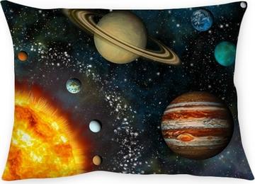 Cojín decorativo Visualización realista del Sistema Solar contiene el Sol y nueve planetas