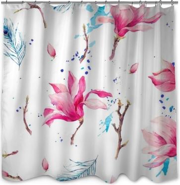 Cortina de ducha Acuarela de patrones sin fisuras con flores magnolia