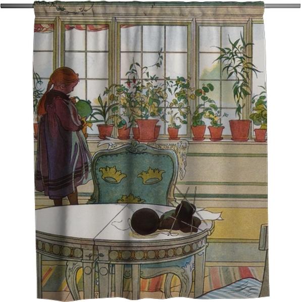 Cortina de ducha Carl Larsson - Flores en el alféizar de la ventana - Reproductions