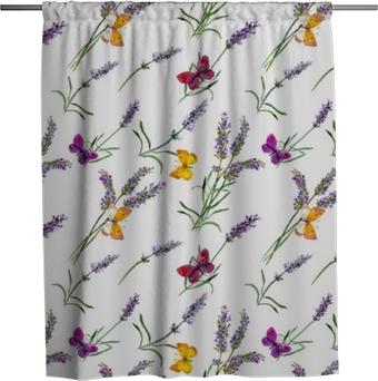 Cortina de ducha Flores de lavanda, mariposas. Acuarela de patrones sin fisuras