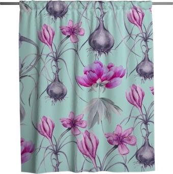 Cortina de ducha Fondo de una flor de azafrán con una raíz. patrón sin costuras