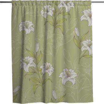 Cortina de ducha Lily flower graphic color seamless pattern boceto vector de ilustración