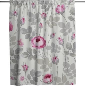 Cortina de ducha Patrón floral transparente con rosas en colores pastel