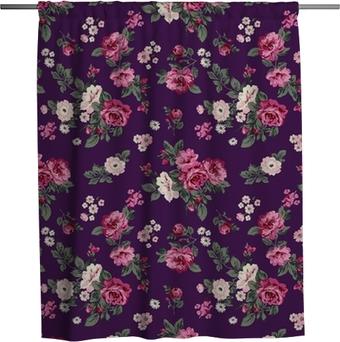 Cortina de ducha Preciosas rosas de fondo sin fisuras