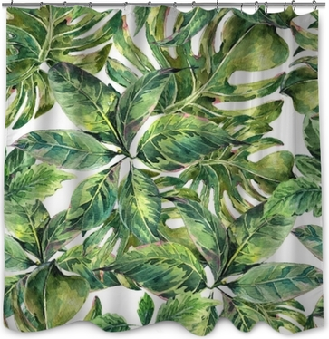 Cortina de ducha Verano acuarela exótica patrón transparente
