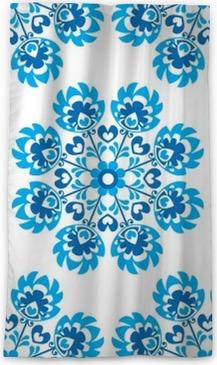 Cortina opaca Sin fisuras patrón floral azul polaco del arte popular - wycinanki