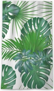 Cortina transparente Sin fisuras dibujado a mano realista vector patrón exótico botánico con hojas de palma verde aislado sobre fondo blanco.