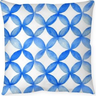 Aquarelle bleu motif japonais. Coussin