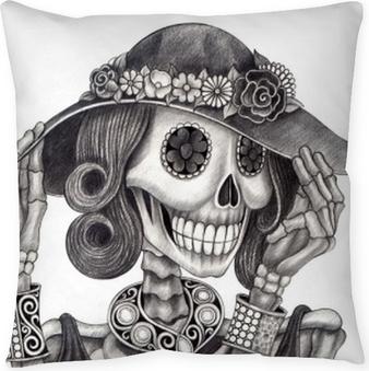 Crâne art jour de la mort.art design femmes crâne mode et bijoux modèle action smiley visage jour de la mort festival crayon à main dessin sur papier. Coussin