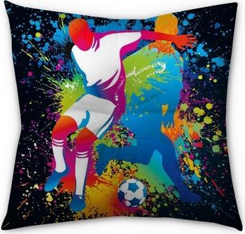 Les joueurs de football avec un ballon de soccer Coussin de Sol Capitonné - Carré