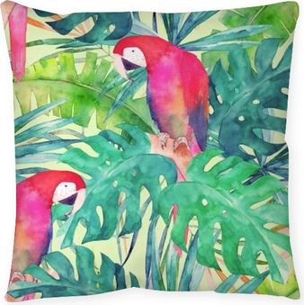 Modèle sans couture d'été avec perroquet aquarelle, feuilles de palmier. illustration colorée Coussin de sol