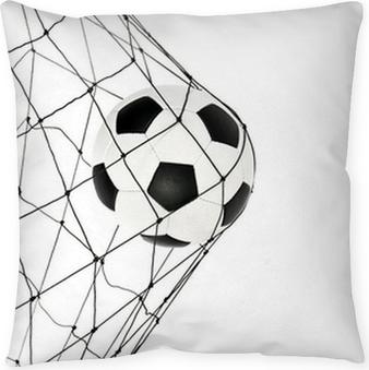 Coussin décoratif Ballon de soccer dans la grille net