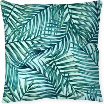 Coussin décoratif Feuilles de palmier tropical aquarelle transparente motif. illustration vectorielle