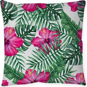 Coussin décoratif Fleur d'orchidée aquarelle et feuilles de palmier modèle sans couture. illustration vectorielle