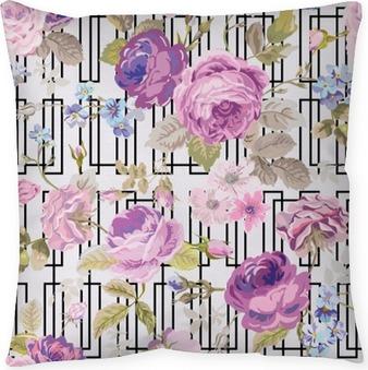 Coussin décoratif Fleurs de printemps Géométrie de fond - Seamless Floral Shabby Chic