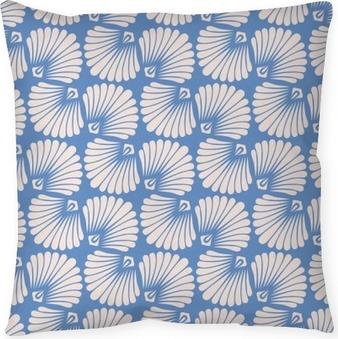 Coussin décoratif Motif vintage transparent avec des coquillages stylisés