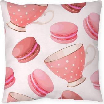 Coussin décoratif Teacups et Macarons Seamless
