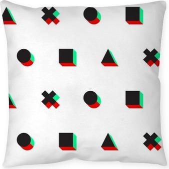 Coussin décoratif Triangle croix cercle motif carré stéréo 3d web numérique