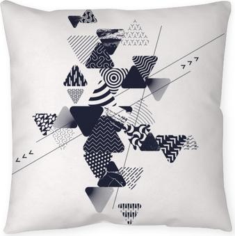 Fond d'art abstrait avec des éléments géométriques Coussin