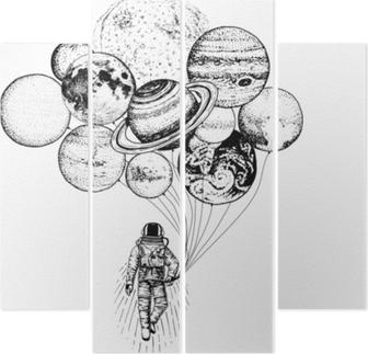 Cuadríptico Astronauta astronauta. Planetas en el sistema solar. Espacio de la galaxia astronómica. cosmonauta explorar aventura. Mano grabada dibujada en croquis antiguo. Luna y el sol y la tierra, marte y venus, globos.