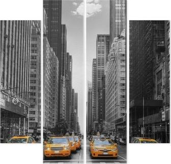 Cuadríptico Avenida de los taxis en Nueva York.