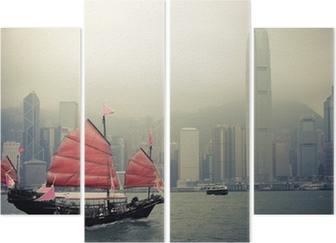 Cuadríptico Barco de vela del estilo chino en Hong Kong