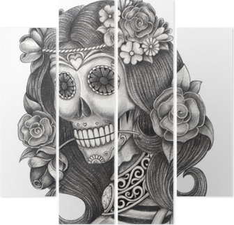 Vinilo Pixerstick Día Del Arte Del Cráneo De La Acción De La Cabeza