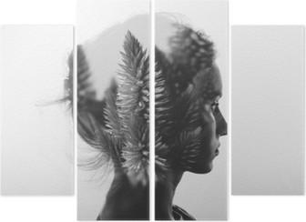 Cuadríptico Doble exposición creativa con el retrato de la muchacha joven y flores, blanco y negro