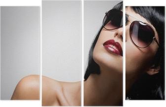 e4ebf2774d Cuadro en Lienzo Hermosa mujer morena con el peinado de tiro con gafas de sol  rojas • Pixers® - Vivimos para cambiar
