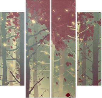 Cuadríptico Hombre de pie en el bello bosque con las hojas que caen, pintura ilustración