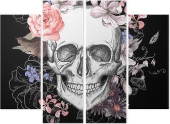 Cuadríptico Skull and Day Flowers of The Dead