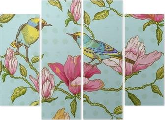 Cuadríptico Vintage Fondo inconsútil - flores y pájaros