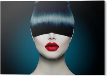 Cuadro en Dibond Alto Chica Modelo de modas Retrato con la franja de moda