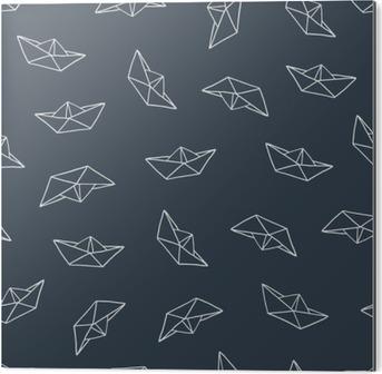Cuadro en Dibond Barco de papel patrón transparente