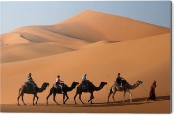 Cuadro en Dibond Caravana de camellos en el desierto del sahara