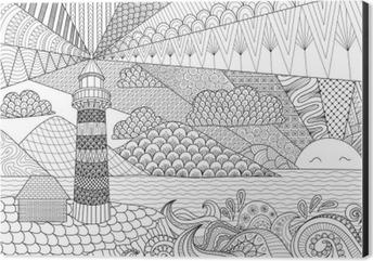 Fotomural El Diseno Del Arte Del Paisaje Marino Por Linea De Libro