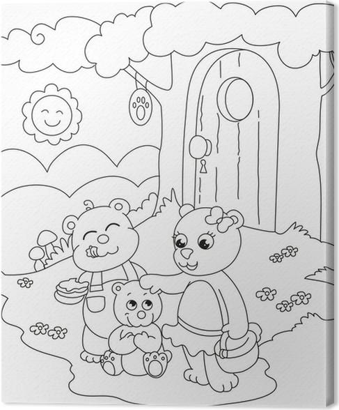 Cuadro en Lienzo 3 osos lindos. Ilustración para colorear para los ...