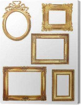 Cuadro en Lienzo 5 viejos marcos de madera sobre fondo blanco de oro
