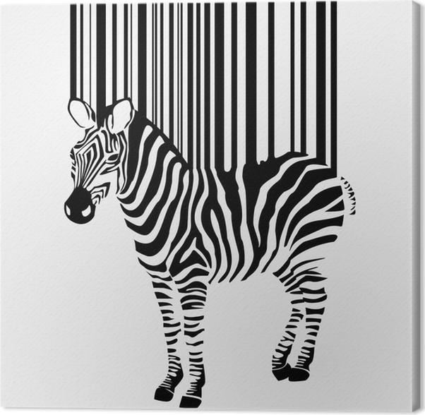 Cuadro en Lienzo Abstract vector silueta de cebra con código de ...