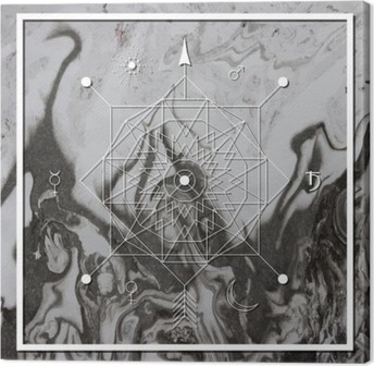 Cuadro en Lienzo Abstracta de la geometría mística, la alquimia lineal, oculto, signo filosófico.