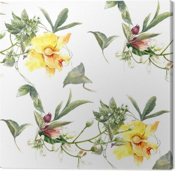 Cuadro en Lienzo Acuarela de la pintura de hojas y flores, patrón ...