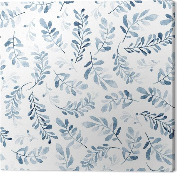 Cuadro en Lienzo Acuarela de patrones sin fisuras de ramas azules ...