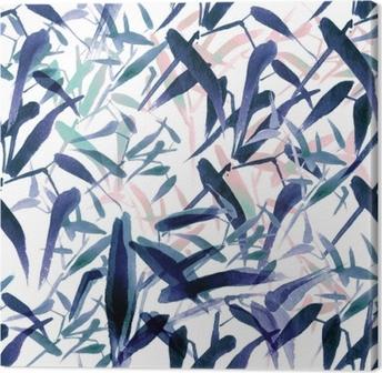 Cuadro en Lienzo Acuarela moderna de patrones sin fisuras de bambú. tonos de azul y rosa