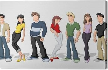 Cuadro En Lienzo Grupo De Personas De Dibujos Animados Amigos