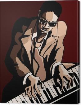 Cuadro en Lienzo Afro americano pianista de jazz
