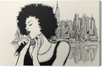 Cuadro en Lienzo Afro cantante de jazz americano