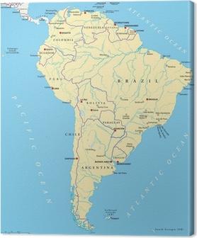 Cuadro en Lienzo América del Sur Mapa (Südamerika Crónica)